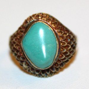 ATQ Chinese Export Sterling Turquoise Ring Sz 6